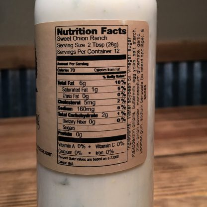 Sweet Onion Ranch Dressing label