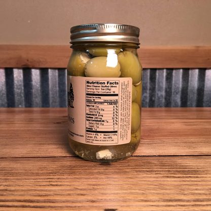 Blue Cheese Olives label